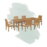 Anthony Outdoor Patio 7 Piece Teak Dining Set with Cushions