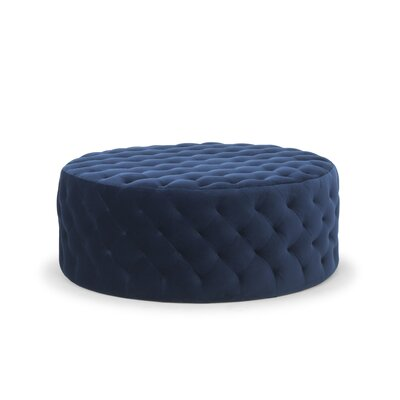 Amin Tufted Cocktail Ottoman Upholstery: Stax Dark Blue by Darby Home Co