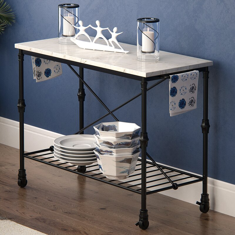 Latitude Run Kitchen Island with Metal Open Shelf & Reviews | Wayfair