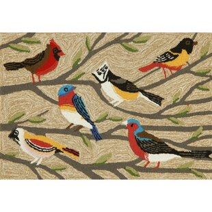 Ismay Birds Cream/Black Indoor/Outdoor Area Rug ByAugust Grove
