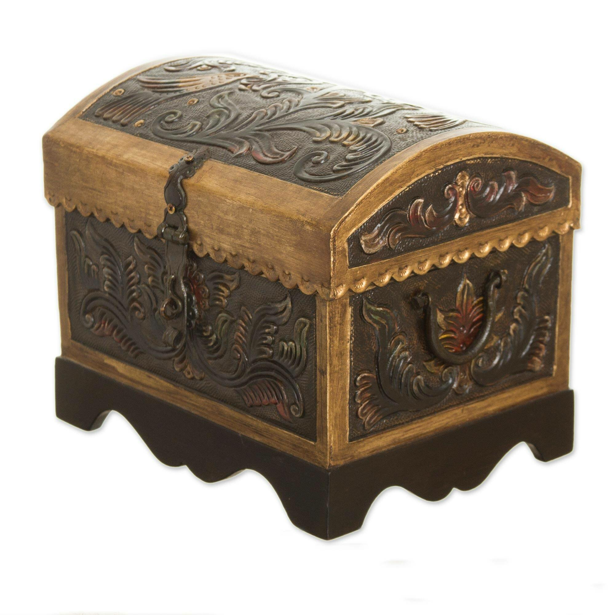 Chest Leather And Wood Decorative Box
