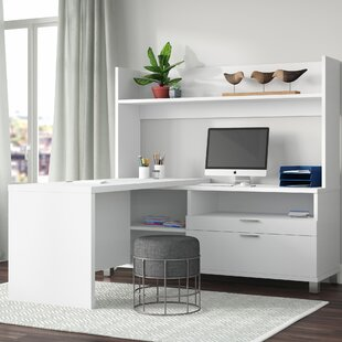 Heyworth Reversible L-Shape Metal Leg Executive Desk with Hutch