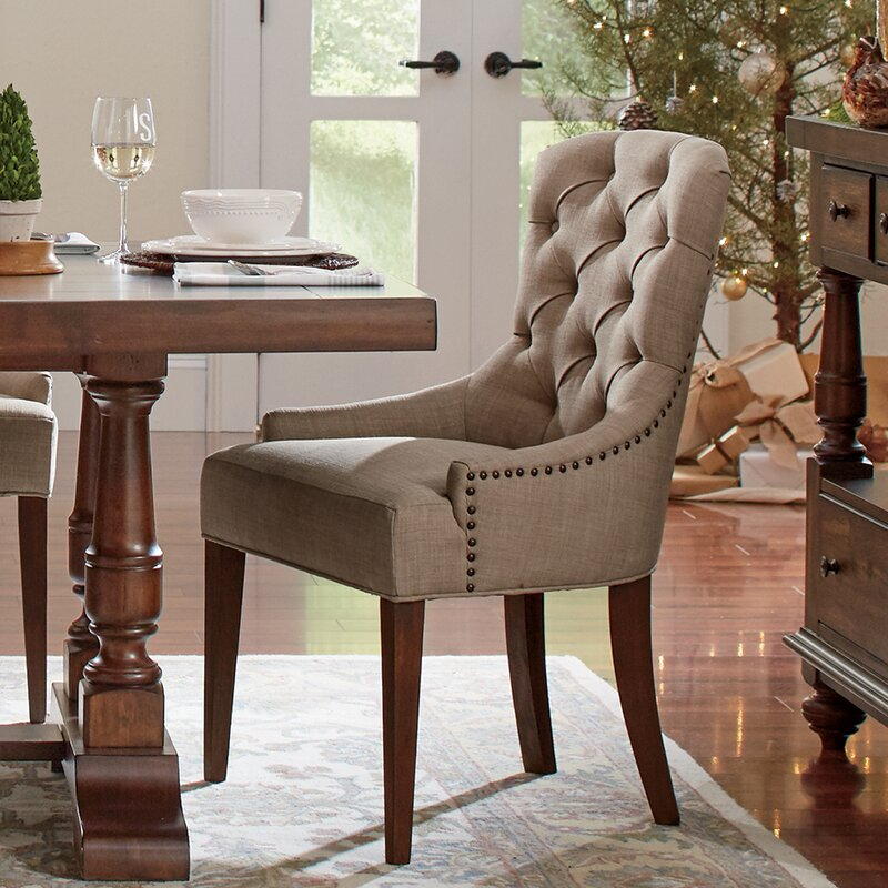 Tufted Upholstered Arm Chair in Beige