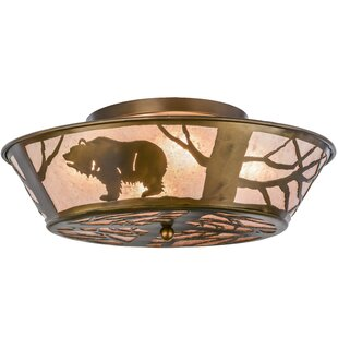 Meyda Tiffany Grizzly Bear on the Loose 4-Light Flush Mount