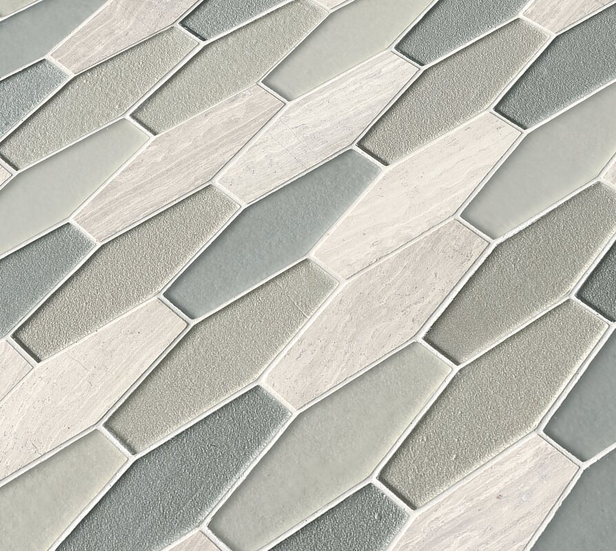 Europa Elongated Hexagon Gl Stone Mosaic Tile In Beige