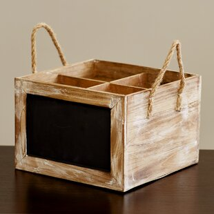 Wine Carrier Chalkboard Solid Wood Crate