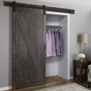 Paneled Manufactured Wood Finish Cheval Barn Door with Installation Hardware