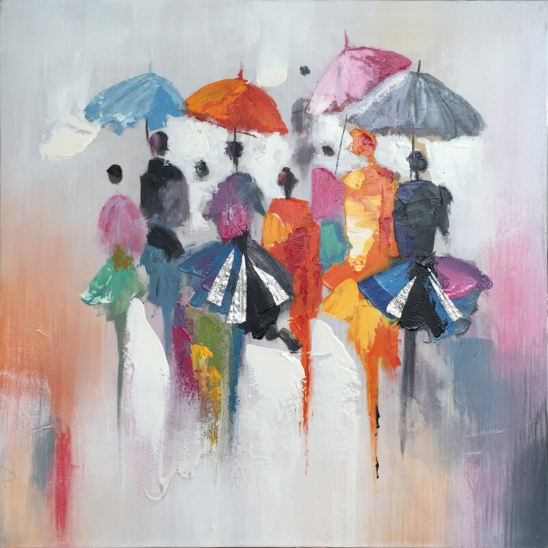 5458d0340 Winston Porter 'Rain in Memory I' Oil Painting Print on Wrapped Canvas |  Wayfair