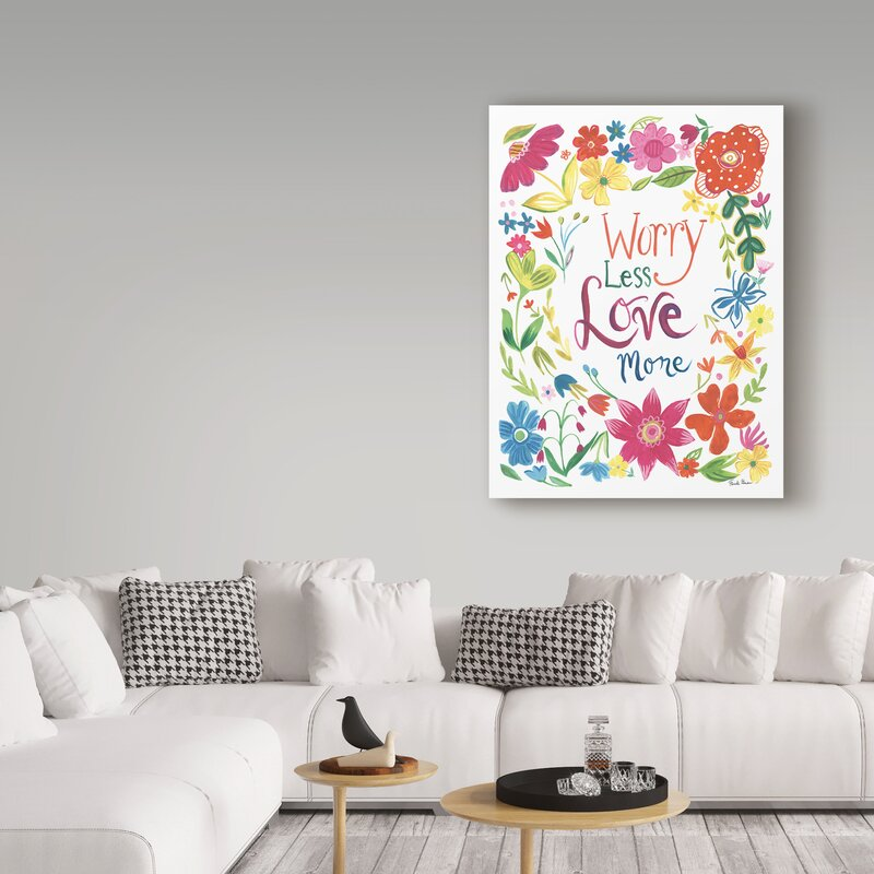 'Floral Quote I Love More' Acrylic Painting Print on Wrapped Canvas