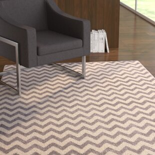 Burgess Chevron Light Gray/White Area Rug By Ebern Designs