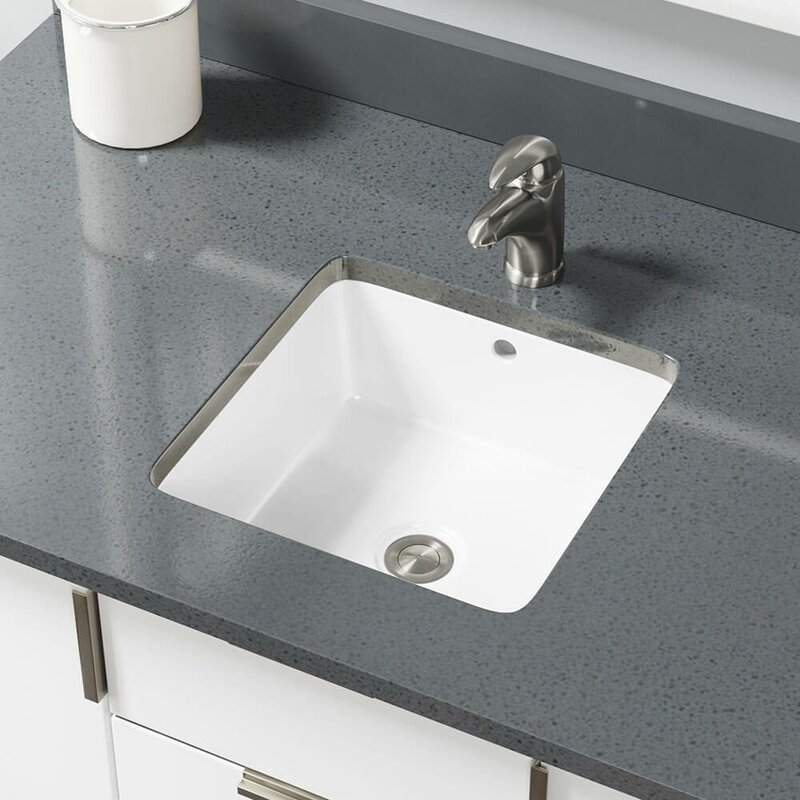 René Vitreous China Rectangular Undermount Bathroom Sink With Overflow Wayfair