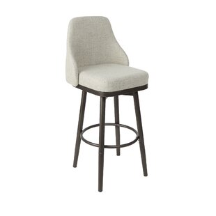 Forsan Upholstered Curved Back Adjustable Height Swivel Bar Stool by Gracie Oaks