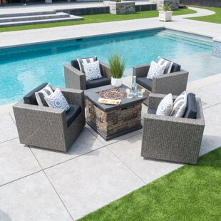 Burch Modern 5 Piece Rattan Seating Group with Cushions