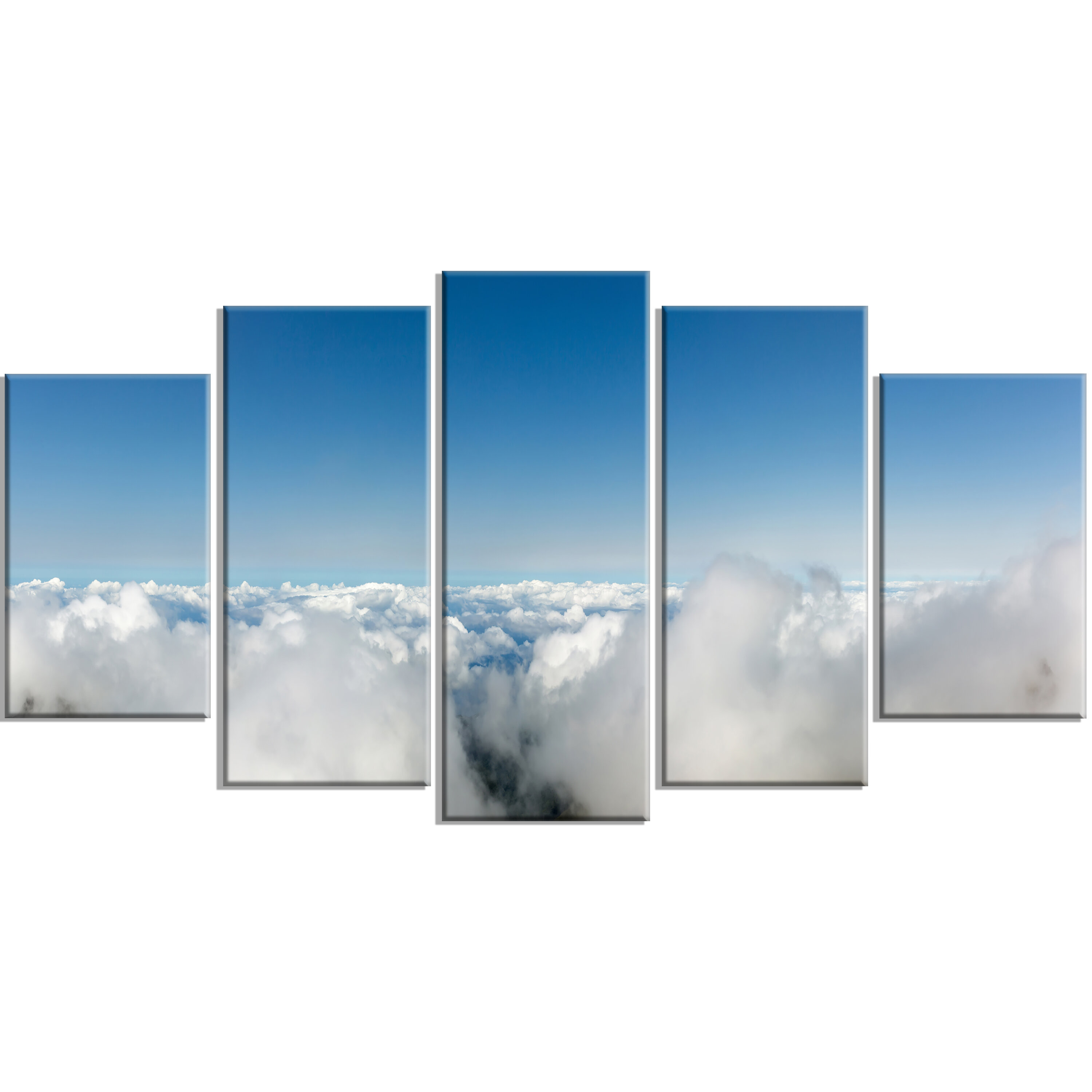 Designart Bright Blue Sky Above Clouds 5 Piece Photographic Print On Wrapped Canvas Set Wayfair