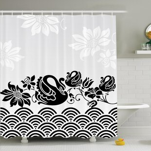 Floral Black Swans and Flowers Shower Curtain Set