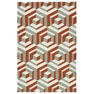 Doylestown Hand-Tufted Paprika/Gray/Ivory Indoor/Outdoor Area Rug By Wrought Studio