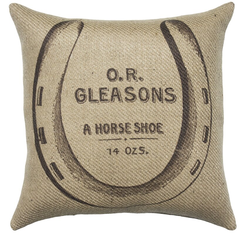 Horse Shoe Burlap Throw Pillow