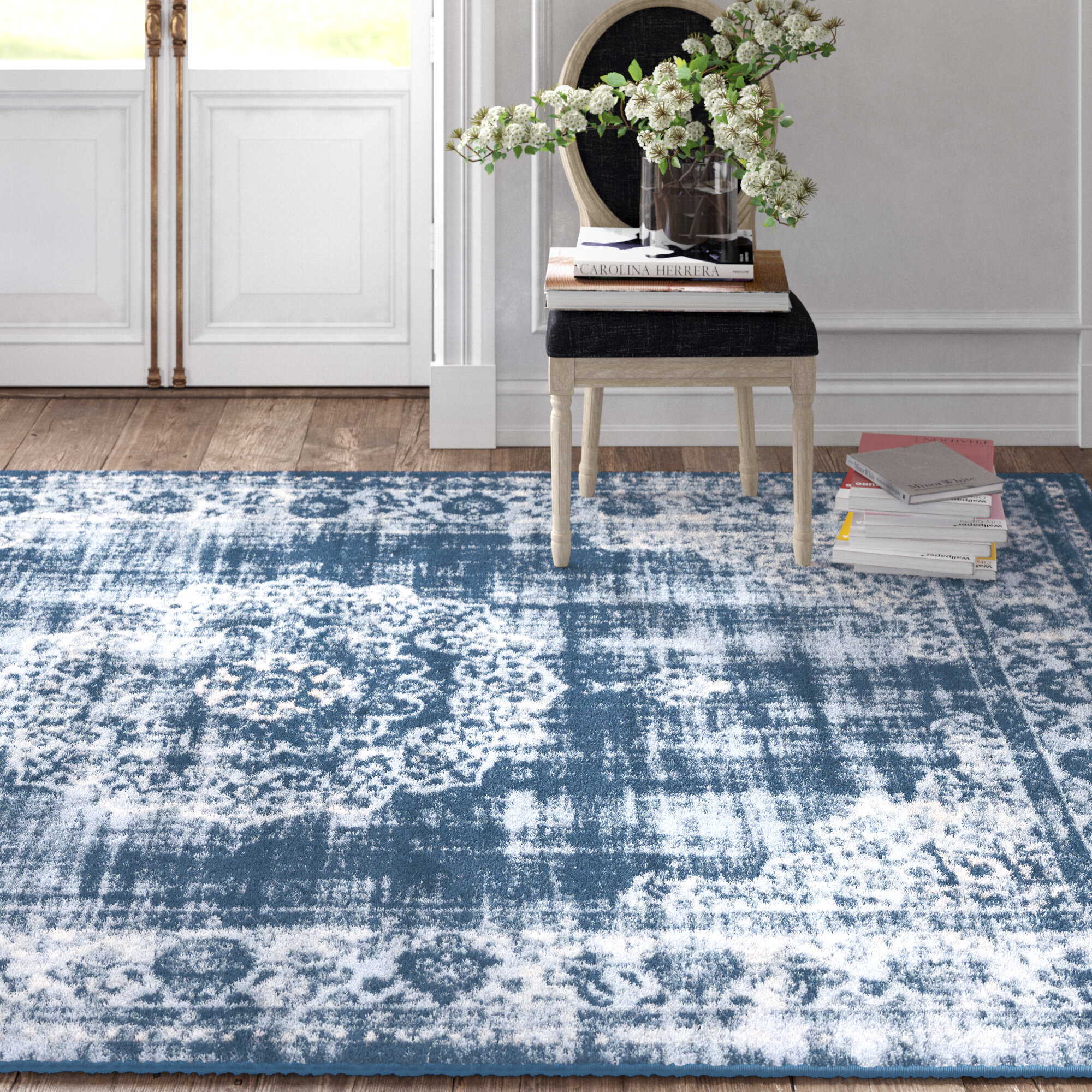 Kelly Clarkson Home Colette Oriental Dark Blue Area Rug Reviews Wayfair