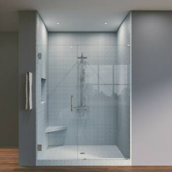 Arizona Shower Door Scottsdale 61 X 72 Hinged Frameless Shower Door With Invisible Shield By Clean X Wayfair