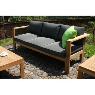 Harmonia Living Ando Teak Patio Sofa with Sunbrella Cushions
