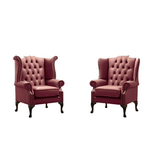 Belfield 2 Piece Wingback Chair Set Astoria Grand Upholstery Colour: Burgundy