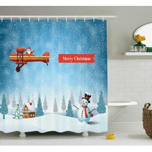 Christmas Santa Plane Snowman Single Shower Curtain