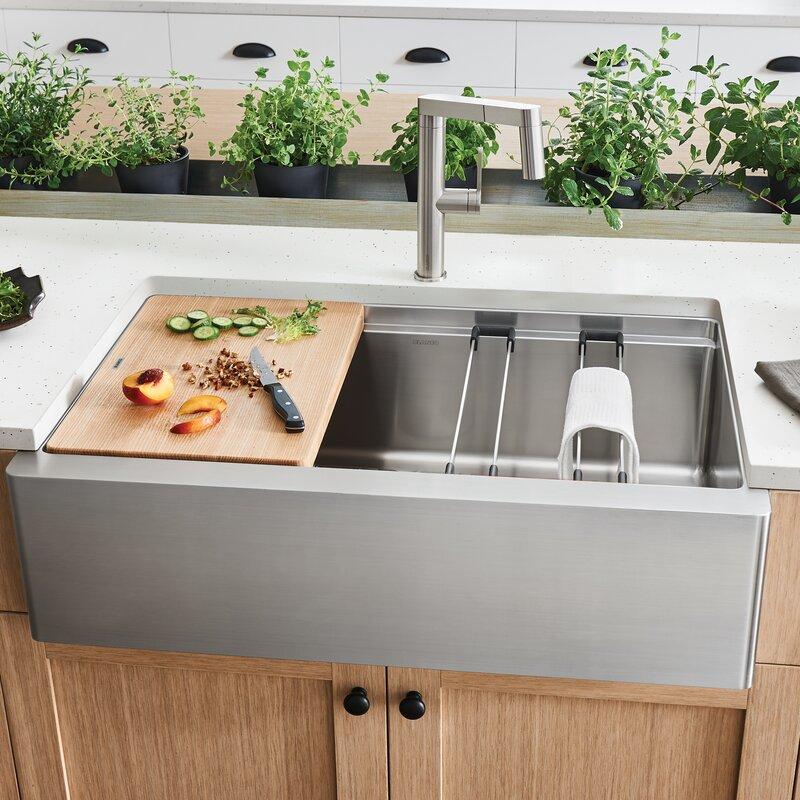 Blanco Canada Inc Quatrus Ergon Super Silgranit 33 L X 21 W Farmhouse Kitchen Sink Wayfair Ca