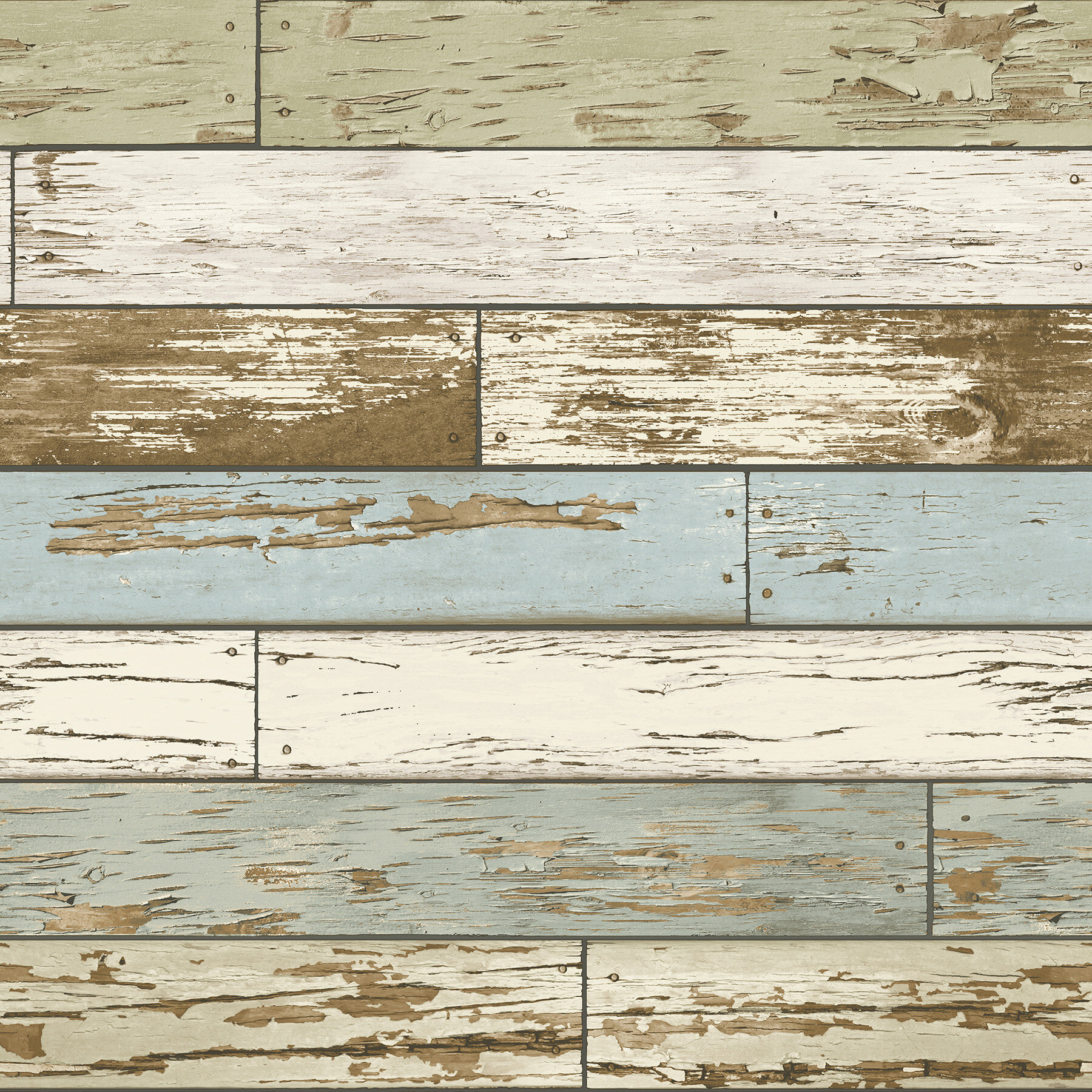 18Distressed Faux Wood Plank Peel /& Stick Wallpaper Off White Pale Brown Papaer
