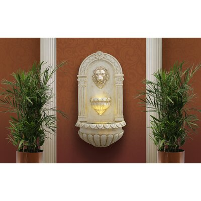 Image of Lion Head Wall Fountain with LED Light Alpine