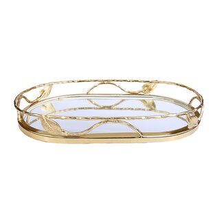 Sroka Leaf Oval Shaped Mirror Vanity Tray
