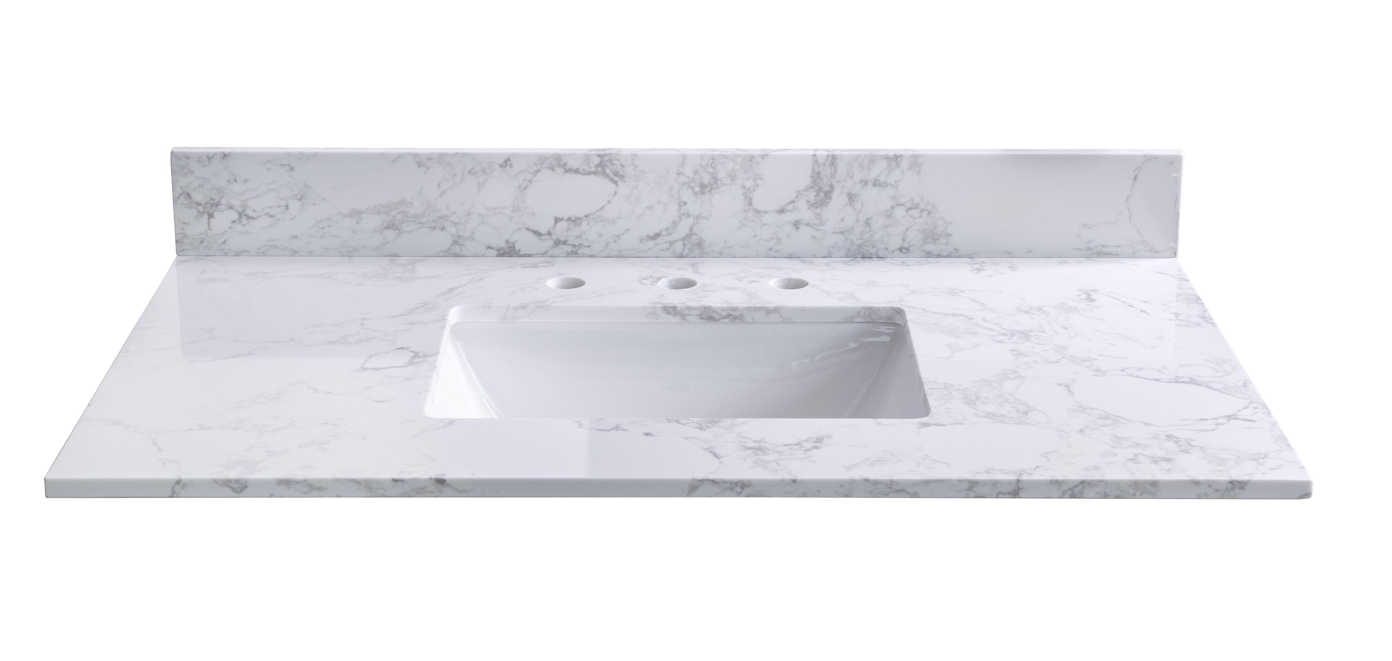 Kinwell 43 Single Bathroom Vanity Top In Carrara White With Sink Wayfair