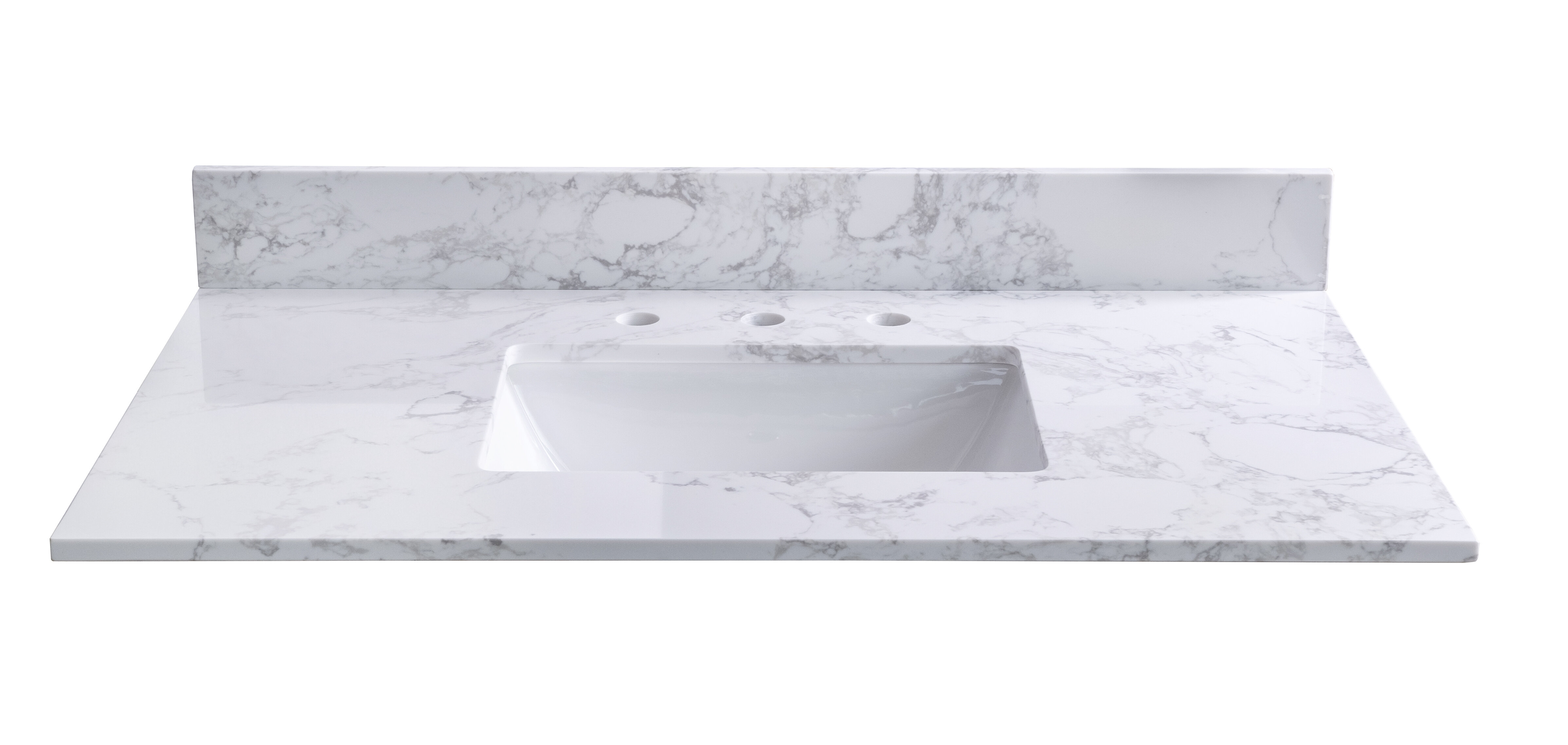 Symylife 43 Single Bathroom Vanity Top In White Marble With Sink Wayfair