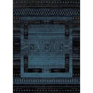 Top Reviews Marana Anti-Bacterial Blue/Black Indoor/Outdoor Area Rug By Bloomsbury Market
