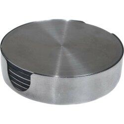7 Piece Stainless Steel Round Coaster Set