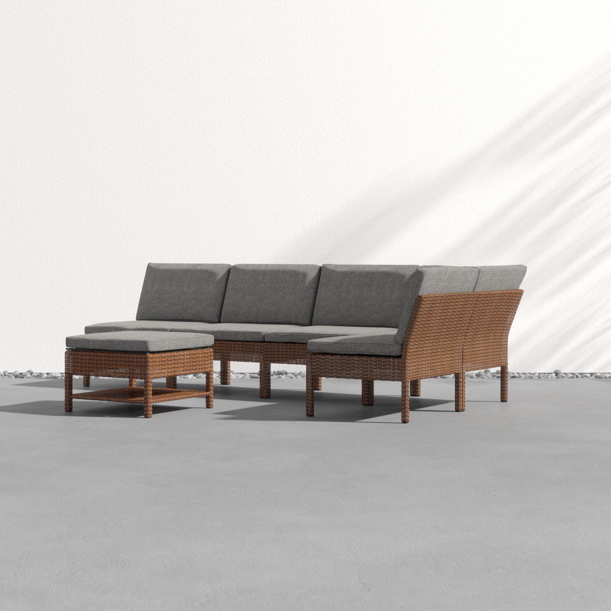 Peachy Maryann Patio Garden 6 Piece Sectional Seating Group With Cushions Uwap Interior Chair Design Uwaporg