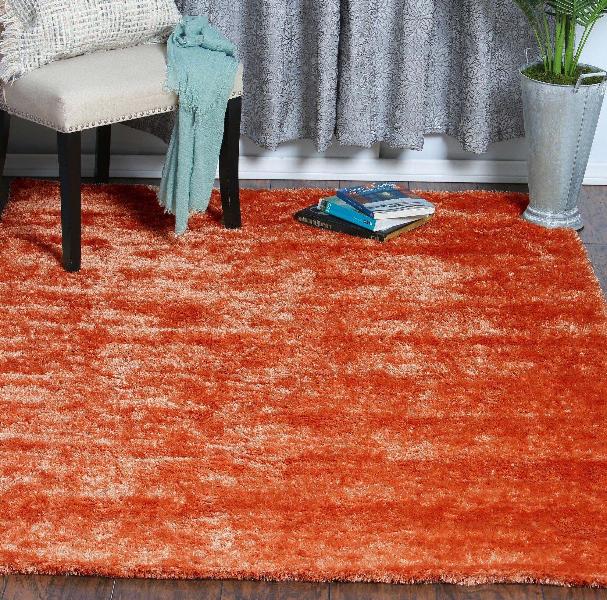 Home Mart Goods Handmade Shag Orange Area Rug Reviews Wayfair