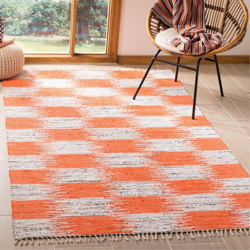 August Grove Opie Ikat Handmade Flatweave Cotton Orange Gray Area Rug Wayfair