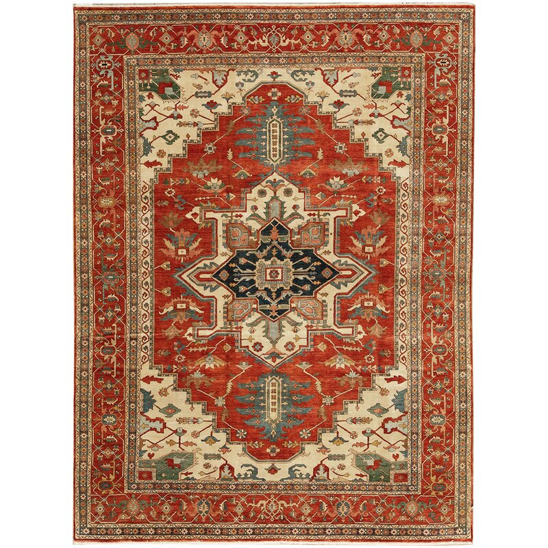 Bokara Rug Co Inc Oriental Hand Knotted Wool Rust Cream Green Area Rug Wayfair