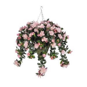 Artificial Azalea Hanging Plant in Beehive Basket