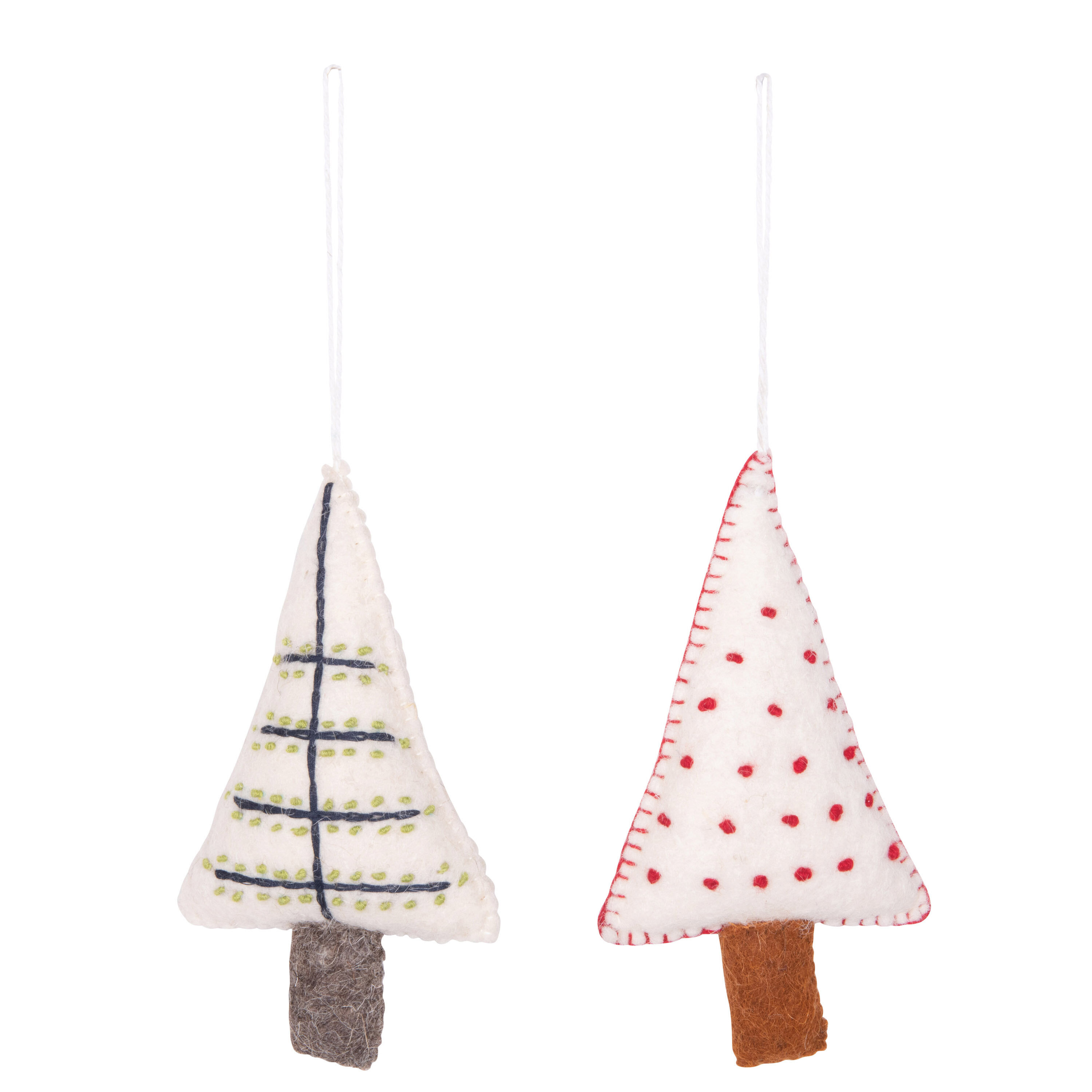 2 Piece Wool Felt Tree Holiday Shaped Ornament Set Joss Main