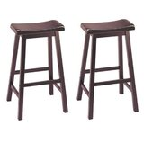 Alivya Solid Wood Short, Bar & Counter Stool (Set of 2) by Red Barrel Studio®