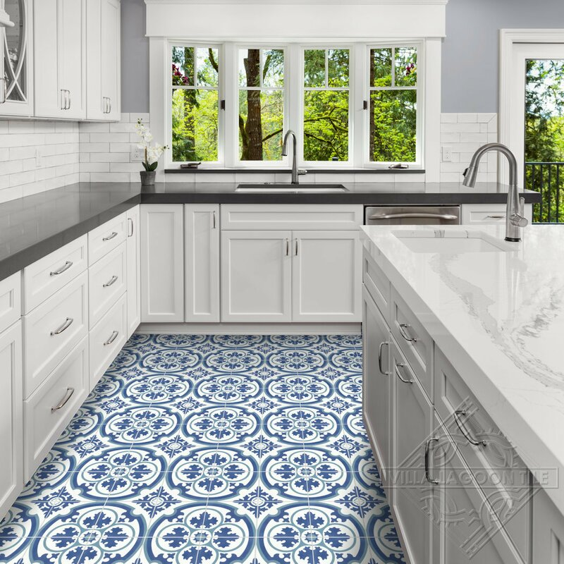 Villa Lagoon Tile Danielle 8 X 8 Cement Field Tile In Blue White Wayfair