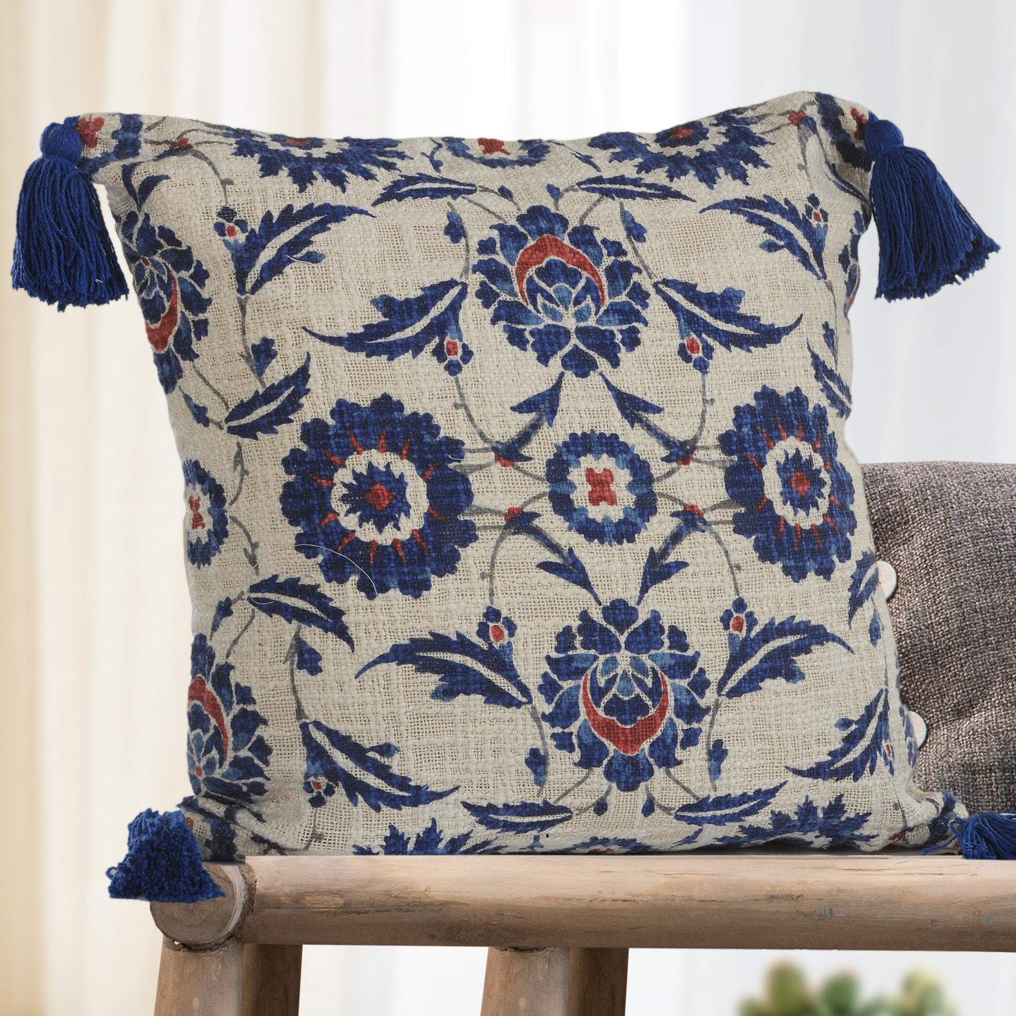 Charlton Home Beaverton Suzani Floral 100 Cotton Throw Pillow Reviews Wayfair