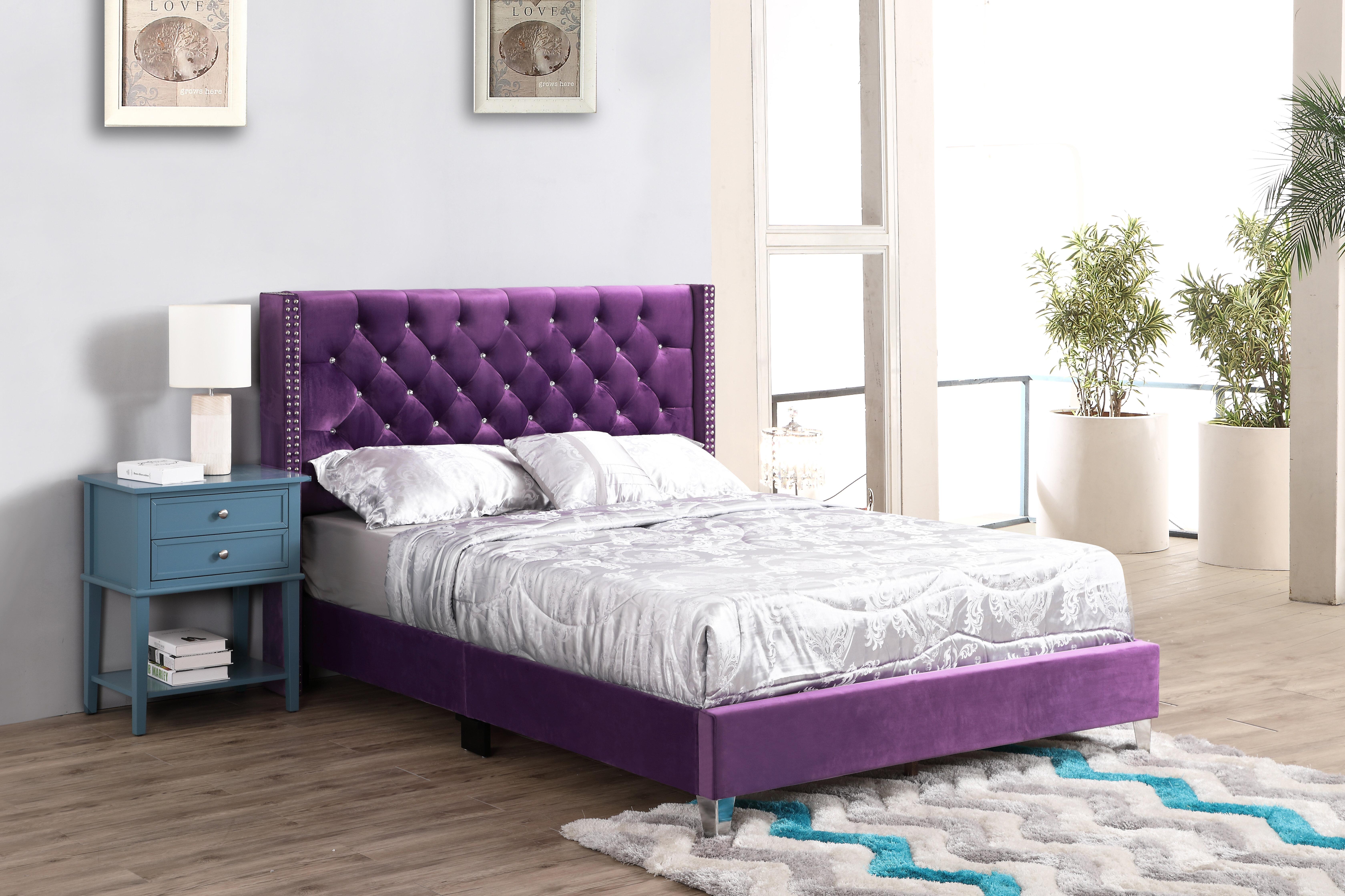Upholstered Purple Velvet Beds You Ll Love In 2021 Wayfair