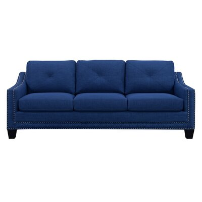 """Vaillancourt Sofa Upholstery Color: Blue, Size: 37"""" H x 90"""" W x 34"""" D by August Grove"""
