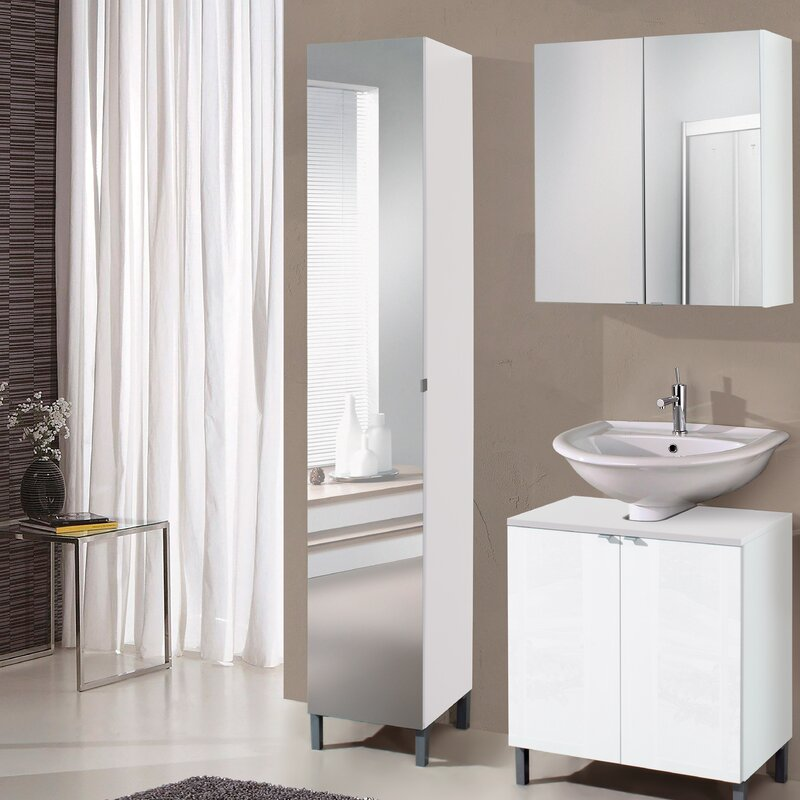Milan 32 X 182cm Mirrored Free Standing Tall Bathroom Cabinet