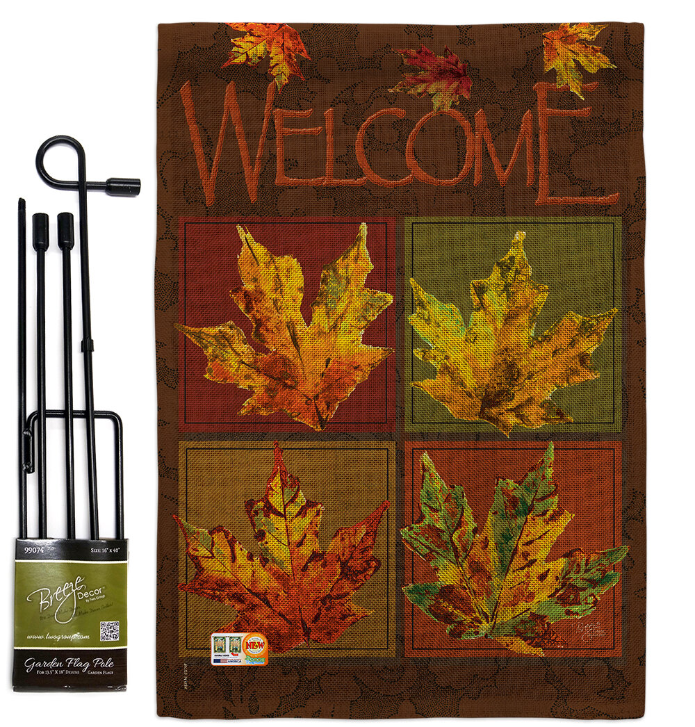 Breeze Decor Fall Leaves Collage Harvest And Autumn Impressions 2 Sided Burlap 19 X 13 In Flag Set Wayfair