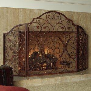 iron fireplace cover. Provincial 3 Panel Iron Fireplace Screen Screens  Doors You ll Love Wayfair