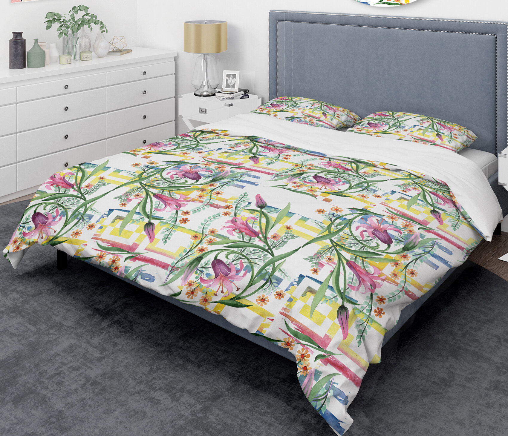 East Urban Home Floral Botanical Retro Xi Mid Century Duvet Cover Set Wayfair