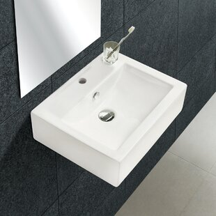 Compare prices Ceramic 20 Wall-Mount Bathroom Sink with Overflow ByRoyal Purple Bath Kitchen